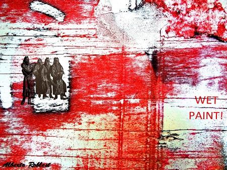 Wet Paint / El horizonte rojo del odio / Size: 25x21 in / Series: Racism